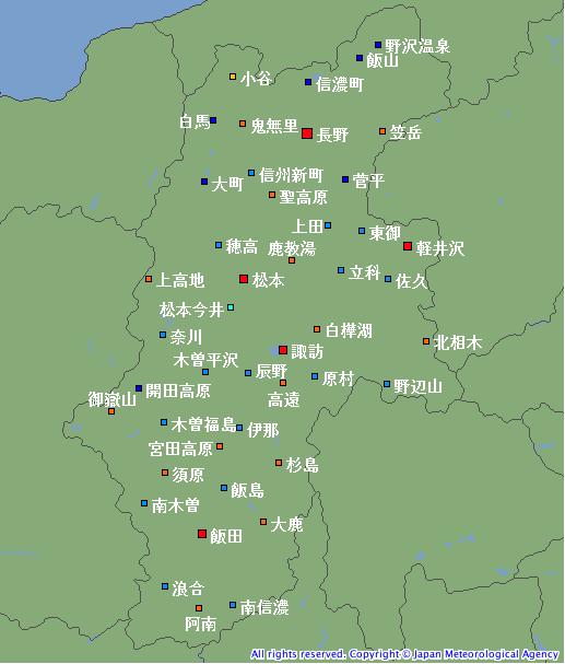 気象庁アメダスの長野県表形式サンプル